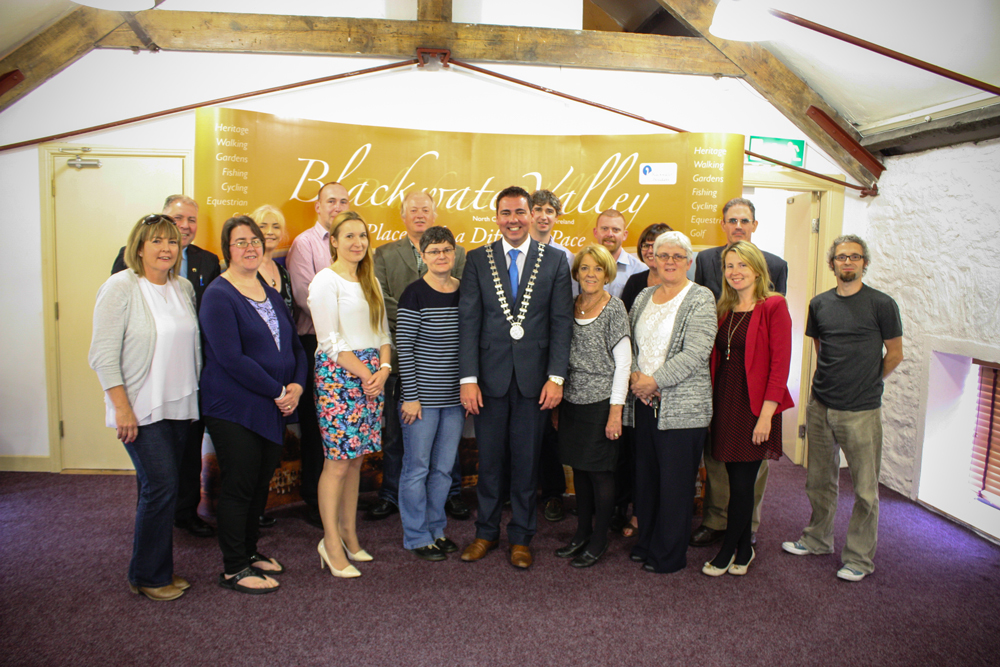 Mayor of the County of Cork Cllr. John Paul O' Shea with staff of Avondhu Blackwater Partnership on his recent visit to the new offices in the MIll, Castletownroche.