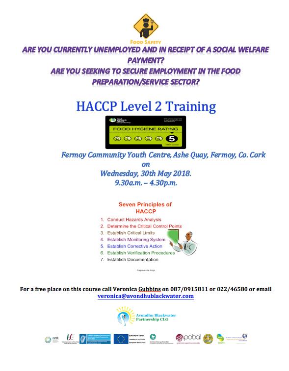 SICAP - HACCP Level 2 Training, Fermoy - Avondhu Blackwater