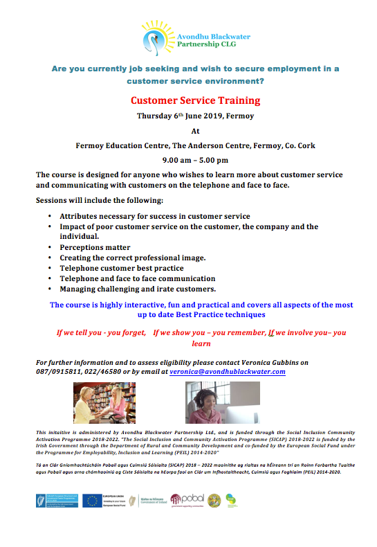 Best Email Service 2020 Customer Service Training Thursday 6 th June 2019, Fermoy